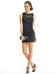 Sheath / Column Jewel Neck Short / Mini Jersey Cocktail Party Homecoming Dress with Appliques Criss Cross by TS Couture®