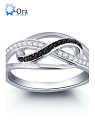 Anéis Forma Redonda Casamento / Pesta / Diário / Casual Jóias Prata de Lei / Zircão Feminino Anéis Grossos 1pç,6 / 7 / 8 Prateado