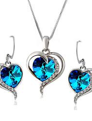 Недорогие -Кристалл Комплект ювелирных изделий - Искусственный бриллиант Сердце Классика, Для вечеринки, Для офиса Включают Небесно-голубой Назначение