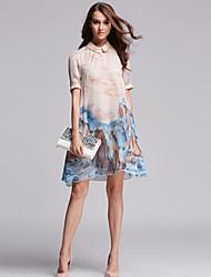 старинные печати женщин плюс размер / линия платье, воротник рубашки выше колена полиэфира
