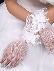 cheap -Net Elastic Satin Polyester Wrist Length Glove Classical Bridal Gloves With Solid