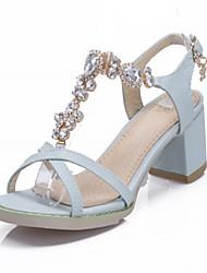 abordables -Mujer Chica Zapatos Semicuero Verano Tacón Robusto Pedrería Para Casual Negro Rosa Azul Claro Almendra