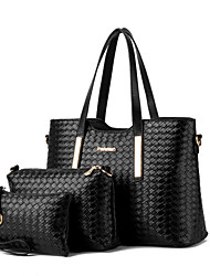 cheap -Women's Bags PU Tote / Shoulder Bag / Bag Set for Shopping / Formal / Outdoor Wine / Royal Blue / Champagne