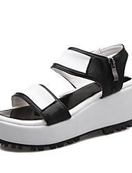 cheap -Women's Shoes PU Summer Creepers Comfort Sandals Walking Shoes Wedge Heel Open Toe Buckle for Athletic Casual Black Silver