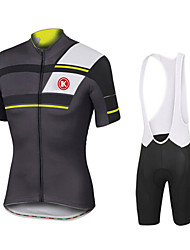 cheap -KEIYUEM Men's Short Sleeves Cycling Jersey with Bib Shorts - White Black Red Blue Bike Tights Clothing Suits, Waterproof, 3D Pad