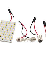 Недорогие -3528 SMD LED панель 48 3528 теплый белый свет водить + T10 / модуль BA9S + двойной наконечник (DC 12V)