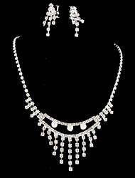 baratos -Mulheres Conjunto de jóias Brincos / Colares - Prateado Para Casamento / Festa / Ocasião Especial