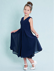 cheap -A-Line V Neck Tea Length Chiffon Junior Bridesmaid Dress with Ruched Criss Cross by LAN TING BRIDE®