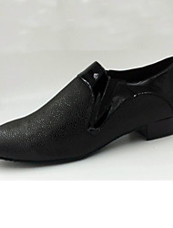 "Men's Modern Salsa Leather Heel Practice Beginner Professional Indoor Performance Low Heel Black Under 1"" Customizable"
