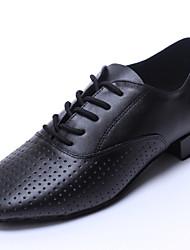 Недорогие -Персонализируемая Для мужчин Латина Танцевальные кроссовки Кожа На плоской подошве Для начинающих Для закрытой площадки На плоской подошве