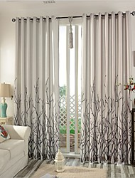 cheap -Rod Pocket Grommet Top Tab Top Double Pleat Pencil Pleat Two Panels Curtain Modern , Print Bedroom Linen / Cotton Blend Material Curtains