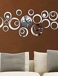 cheap -Fashion Circles 3D Modern Mirror Wall Clock WatchesSticker Decal Home DIY Decor