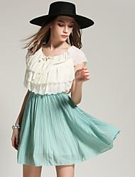 Tiro real na Europa e América verão blusa sem mangas nova flor plissada vestido de costura criança