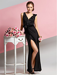 Sheath / Column V-neck Ankle Length Chiffon Velvet Jersey Prom Formal Evening Dress with Side Draping by TS Couture®