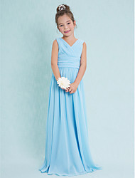 Sheath / Column V-neck Floor Length Chiffon Junior Bridesmaid Dress with Criss Cross Ruching by LAN TING BRIDE®