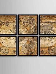 baratos -Abstrato Quadros Emoldurados / Conjunto Emoldurado Wall Art,PVC Preto Sem Cartolina de Passepartout com frame Wall Art