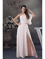 cheap -Ball Gown One Shoulder Floor Length Chiffon Bridesmaid Dress with Split Front