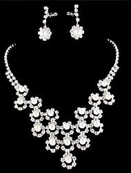 baratos -Conjunto de jóias Mulheres Aniversário / Casamento / Noivado / Presente / Festa / Ocasião Especial Conjuntos de Joalharia Liga Strass