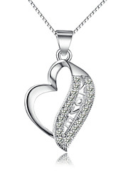 cheap -Women's Crystal Sterling Silver Silver Pendant Necklace Chain Necklace  -  Love Necklace For Wedding Party Daily