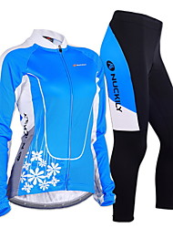 cheap -Nuckily Women's Long Sleeves Cycling Jersey with Tights - Blue Geometic Bike Clothing Suits, Anatomic Design, Breathable, Reflective