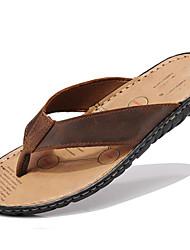 baratos -Unisexo Sapatos Pele Napa Primavera Verão Outono par sapatos Chinelos e flip-flops Água para Casual Ao ar livre Social Preto Castanho