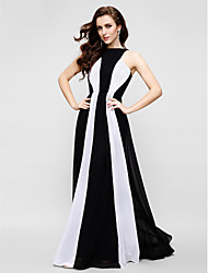 cheap -Sheath / Column Jewel Neck Floor Length Chiffon Prom / Formal Evening Dress with Pleats by TS Couture®