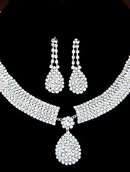 Women's Jewelry Set Drop Earrings Pendant Necklaces Rhinestone Bridal Elegant Wedding Party Anniversary Birthday Engagement Gift Daily