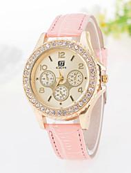 Damen Modeuhr Quartz Armbanduhren für den Alltag PU Band Glanz Schwarz Weiß Blau Rot Orange Rosa Lila Marke