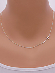 cheap -Necklace Pendant Sideways cross Necklaces Jewelry Daily / Casual Fashionable Alloy Gold / Silver 1pc Gift