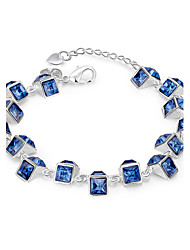 Lureme® Fashion Style Silver Plated Geometry with Blue Zircon Charm Bracelets for Women