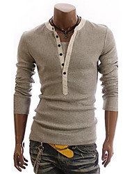 Brand High Quality  Men's False Two-piece Sleeve Leisure Long-sleeved T-shirt