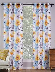 zwei Panele Rustikal Blumen / Pflanzen Multi-color Wohnzimmer Polyester Flächenvorhänge Vorhänge