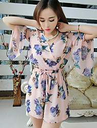 cheap -Women's Floral Pink / Black Jumpsuits V Neck ¾ Sleeve