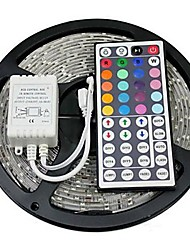 cheap -RGB Strip Lights 300 LEDs RGB Remote Control / RC Cuttable Color-Changing Self-adhesive DC 12V