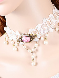 cheap -Women's Choker Necklace / Torque / Gothic Jewelry - Lace Gothic White Necklace For Wedding, Party, Daily