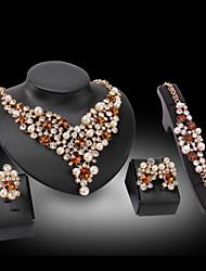 baratos -Mulheres Diamante sintético Conjunto de jóias - Banhado a Ouro 18K, Pérola, Chapeado Dourado Amor Luxo Incluir Azul / Dourado Para Casamento / Festa / Imitações de Diamante