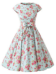 Women's Cap Sleeves Mint Flowers Floral Dress , Vintage Cap Sleeves 50s Rockabilly Swing Dress