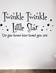 Twinkle Little Star Star Heart Vinyl Black Wall Sticker Kid Children Room Decor