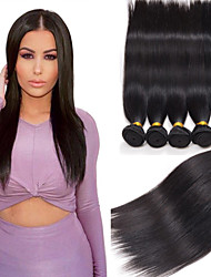 cheap -Peruvian Hair Straight Virgin Human Hair Natural Color Hair Weaves 4 Bundles 8-26inch Human Hair Weaves Black