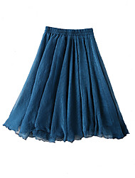 cheap -Women's Daily Knee-length Skirts,Cute A Line Rayon Solid Summer