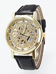 cheap -Casual Men's Wrist Watch Skeleton Imitation Mechanical Watch For Women Top Brand Quartz Watches Pu Leather Band