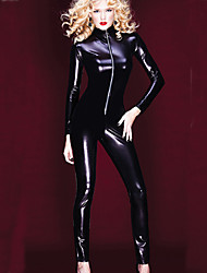 cheap -Women's Solid PVC Full Sleeve Catsuit Outfit