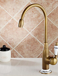 cheap -Kitchen faucet - Antique Antique Brass Tall / ­High Arc Deck Mounted