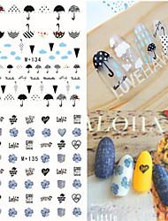 cheap -1pcs Fresh Nail Watermark Sticker 134-141
