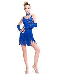 abordables -Baile Latino Vestidos Mujer Representación Fibra de Leche 1 Pieza Sin mangas Cintura Media Vestido