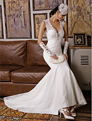 cheap -Mermaid / Trumpet V-neck Sweep / Brush Train Lace Wedding Dress with Beading by Embroidered bridal