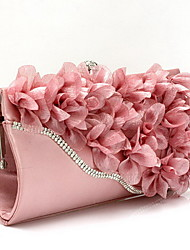 cheap -Women Bags Chiffon Evening Bag Flower for Wedding Event/Party Shopping Casual Formal All Seasons Black Silver Fuchsia Red Pink