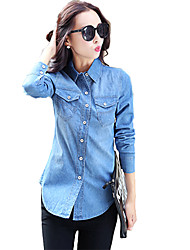 cheap -Women's Cotton Shirt - Solid Colored Ruched Shirt Collar