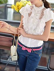 DABUWAWA Women's Ruffle Solid White Shirt,Stand Short Sleeve
