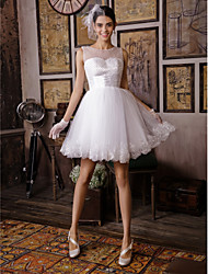 A-Line Illusion Neckline Knee Length Lace Tulle Wedding Dress with Beading Sash / Ribbon by Sarahbridal